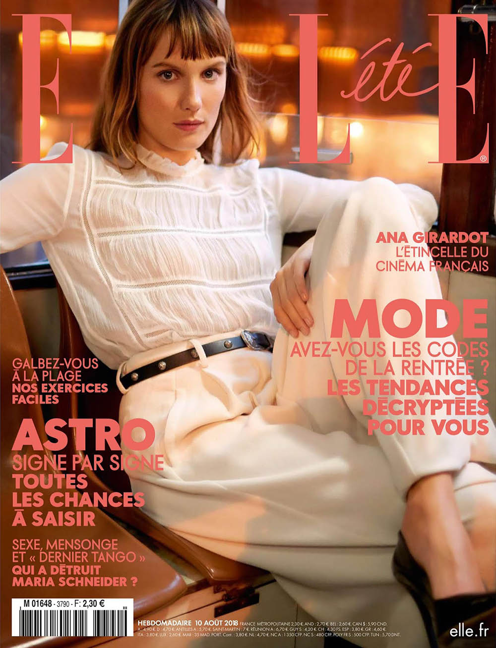 Ana Girardot covers Elle France August 10th, 2018 by Mote Sinabel Aoki