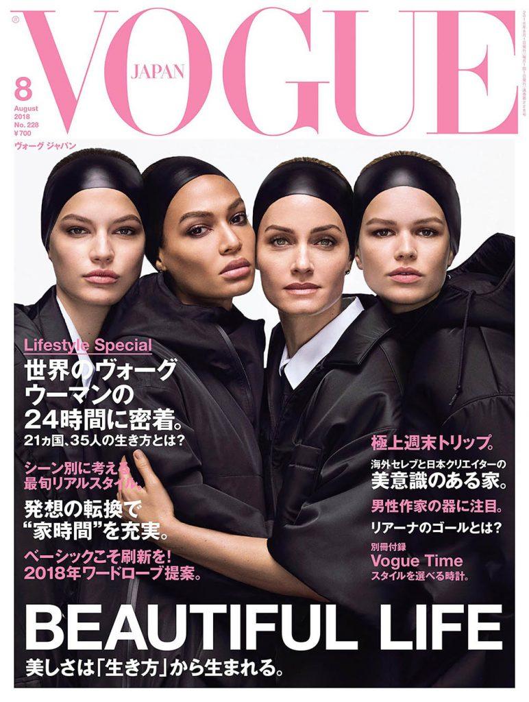 Anna Ewers, Amber Valletta, Joan Smalls and Faretta Radic cover Vogue Japan August 2018 by Luigi & Iango
