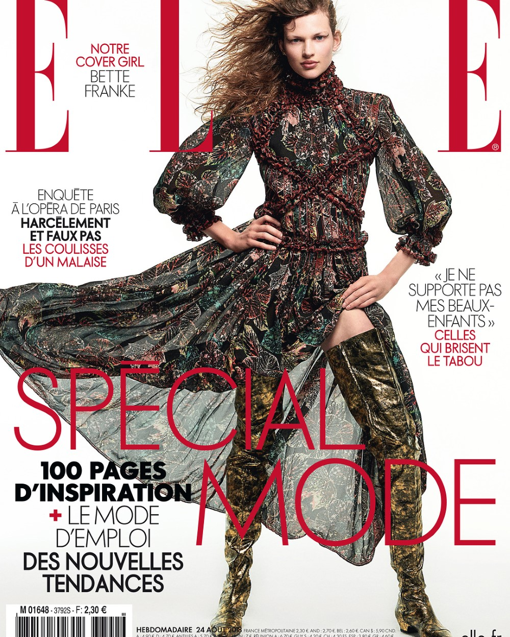Bette Franke covers Elle France August 24th, 2018 by Sam Hendel