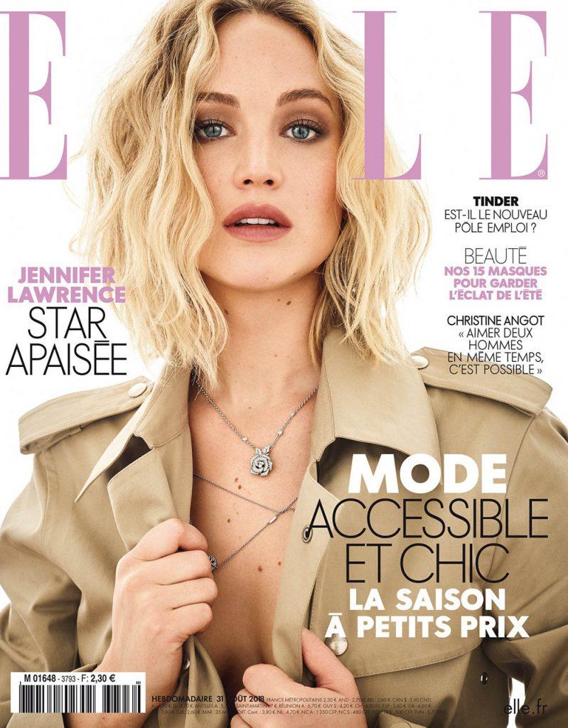 Jennifer Lawrence covers Elle France August 31st, 2018 by Mark Seliger