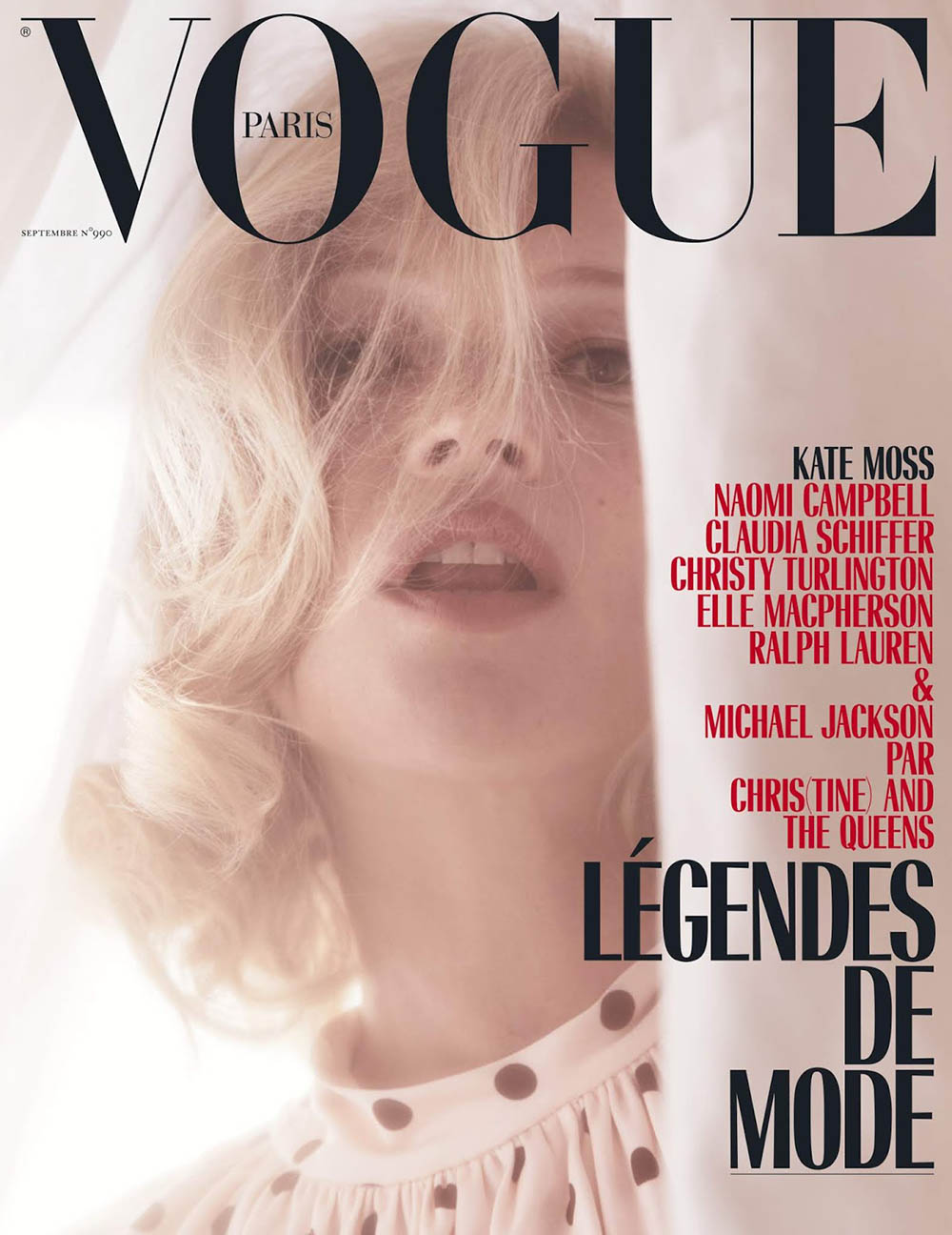 Kate Moss covers Vogue Paris September 2018 by Mikael Jansson
