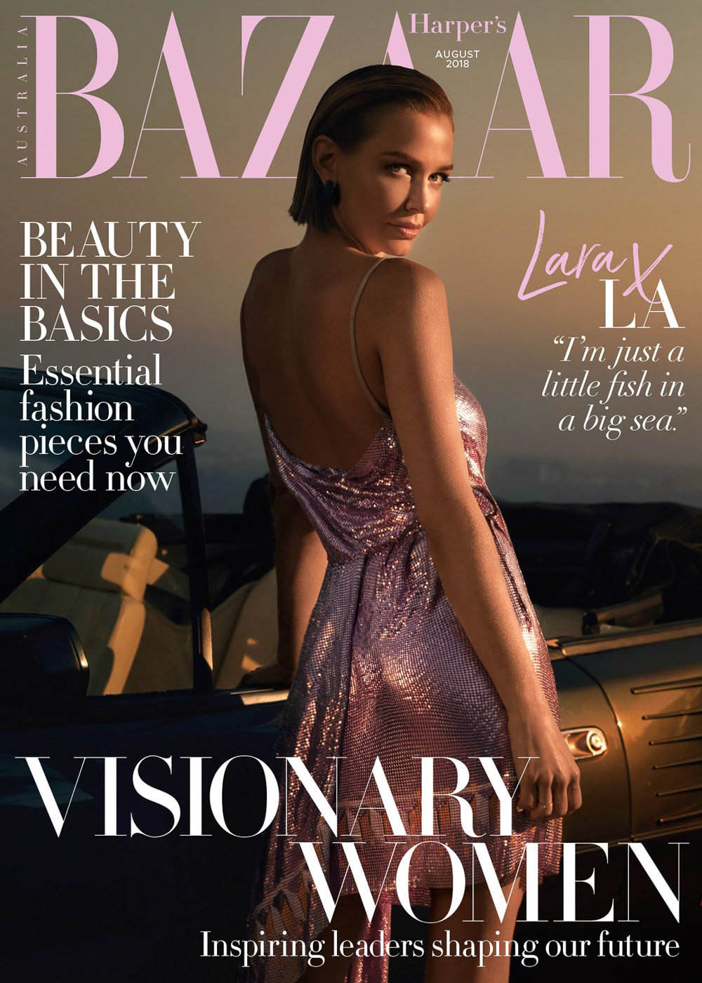Lara Worthington covers Harper's Bazaar Australia August 2018 by Darren McDonald