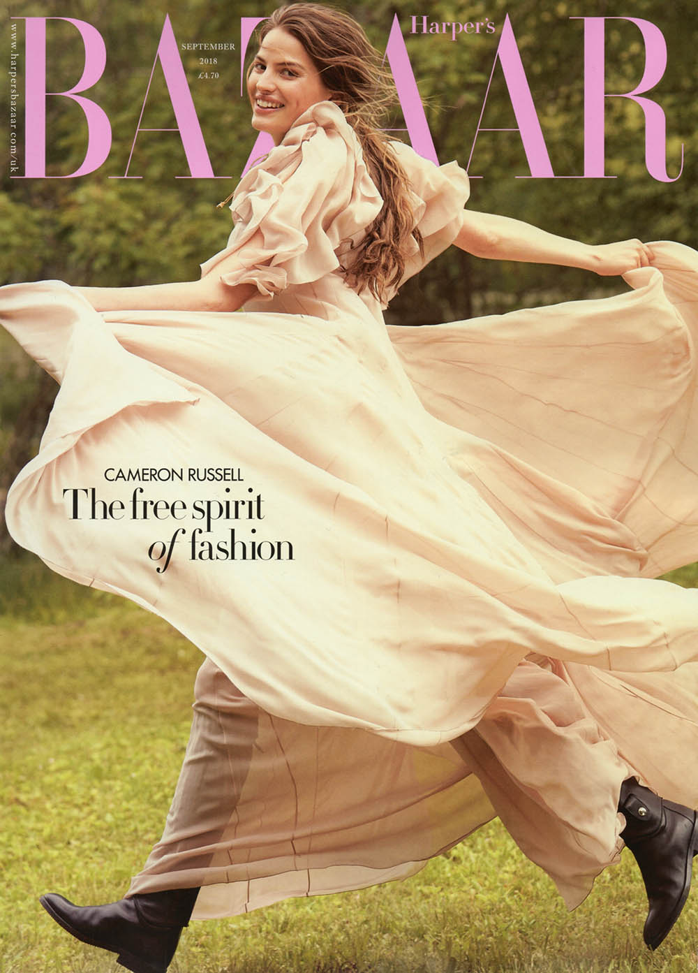 Cameron Russell covers Harper's Bazaar UK September 2018 by Will Davidson