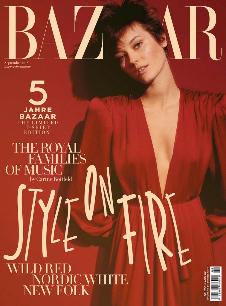 Jac Jagaciak covers Harper's Bazaar Germany September 2018 by Regan Cameron
