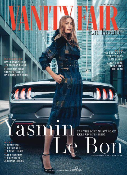 Yasmin Le Bon covers Vanity Fair UK En Route September 2018 by Matt Holyoak