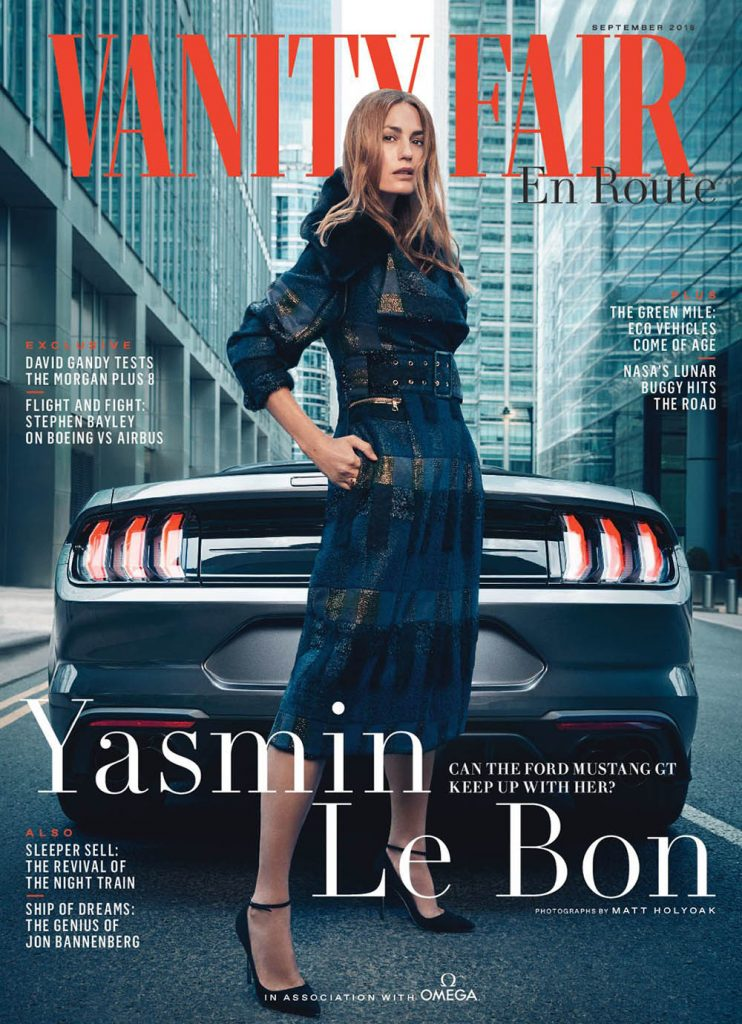Yasmin Le Bon covers Vanity Fair UK En Route September 2018 by Matt Holyoak