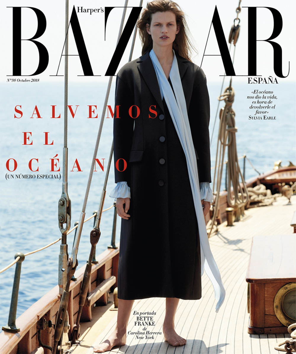 Bette Franke covers Harper's Bazaar Spain October 2018 by Paul Bellaart