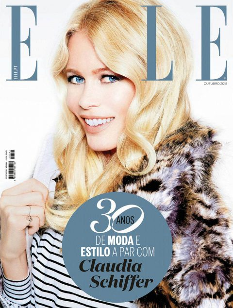 Claudia Schiffer covers Elle Portugal and Elle Singapore October 2018 by Ellen von Unwerth