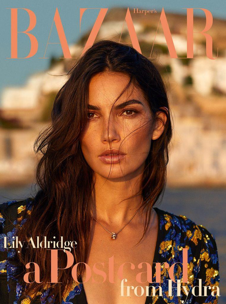 Lily Aldridge covers Harper's Bazaar Greece October 2018 by Yulia Gorbachenko