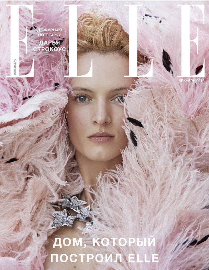 Daria Strokous covers Elle Russia December 2018 by David Dunan
