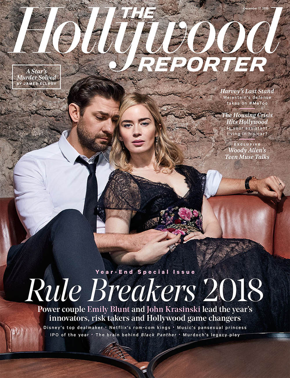 Emily Blunt and John Krasinski cover The Hollywood Reporter December 17th, 2018 by Andrew Hetherington