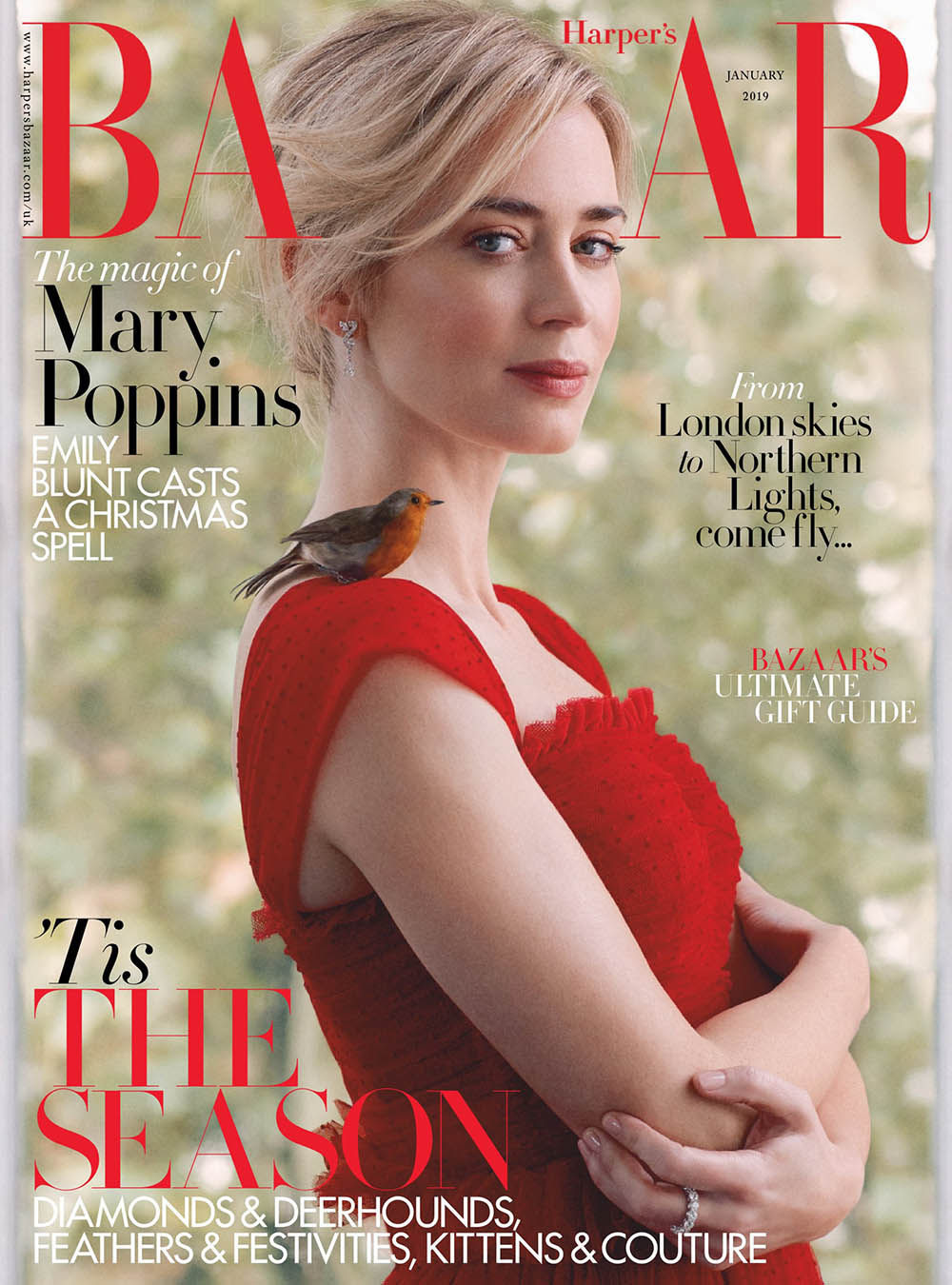 Emily Blunt covers Harper's Bazaar UK January 2019 by Richard Phibbs
