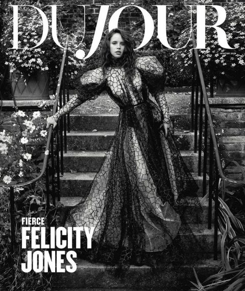 Felicity Jones covers DuJour Magazine Winter 2018 by Mark Seliger