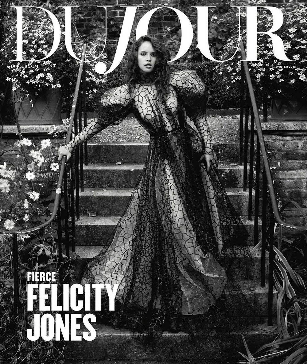 Felicity Jones covers DuJour Magazine Winter 2018 by Mark Seliger