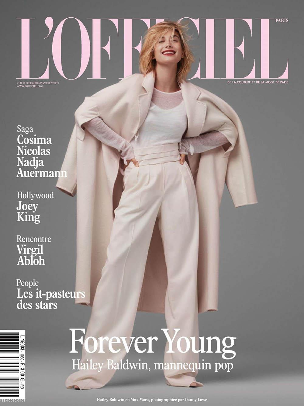 Hailey Baldwin covers L'Officiel Paris December 2018 January 2019 by Danny Lowe