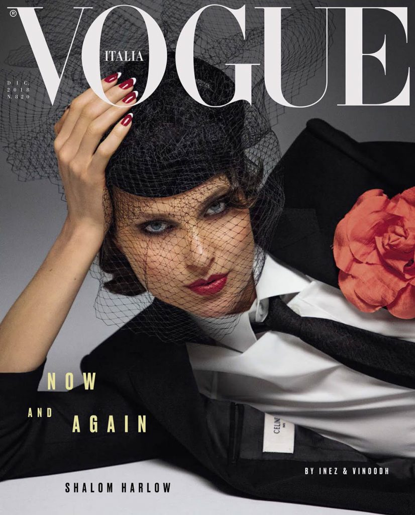 Shalom Harlow covers Vogue Italia December 2018 by Inez and Vinoodh