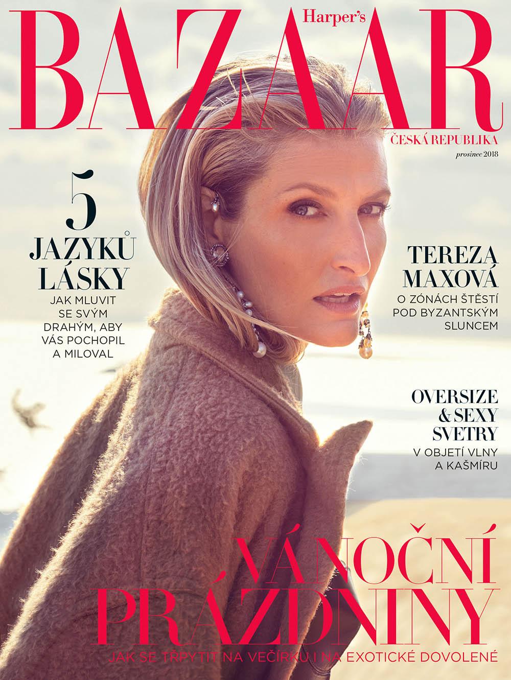 Tereza Maxova covers Harper's Bazaar Czech December 2018 by Andreas Ortner