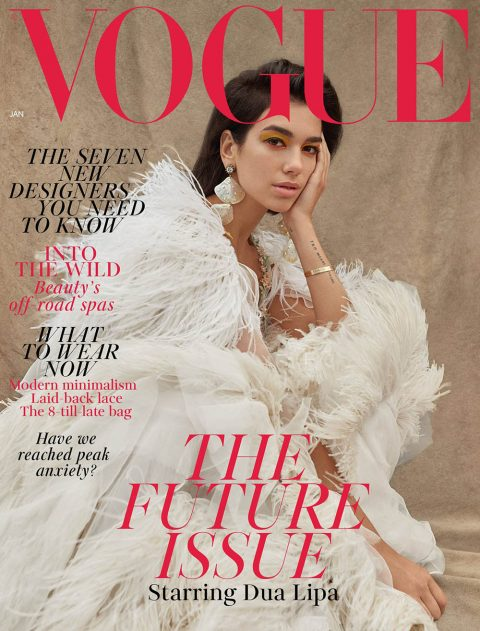 Dua Lipa covers British Vogue January 2019 by Nadine Ijewere