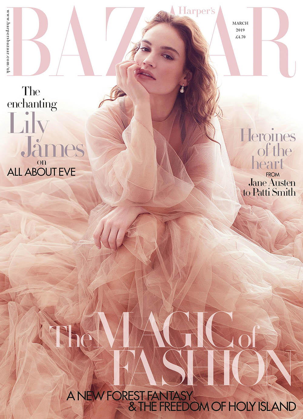 Lily James covers Harper's Bazaar UK March 2019 by Alexi Lubomirski
