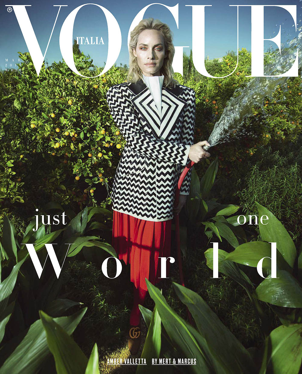 Amber Valletta covers Vogue Italia March 2019 by Mert & Marcus
