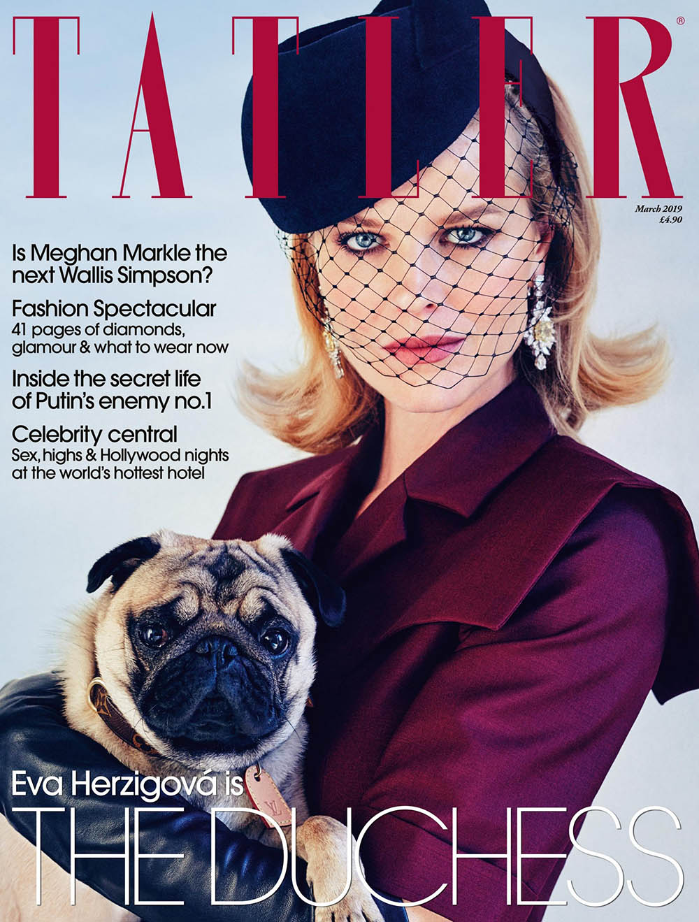 Eva Herzigova covers Tatler UK March 2019 by Simon Emmett