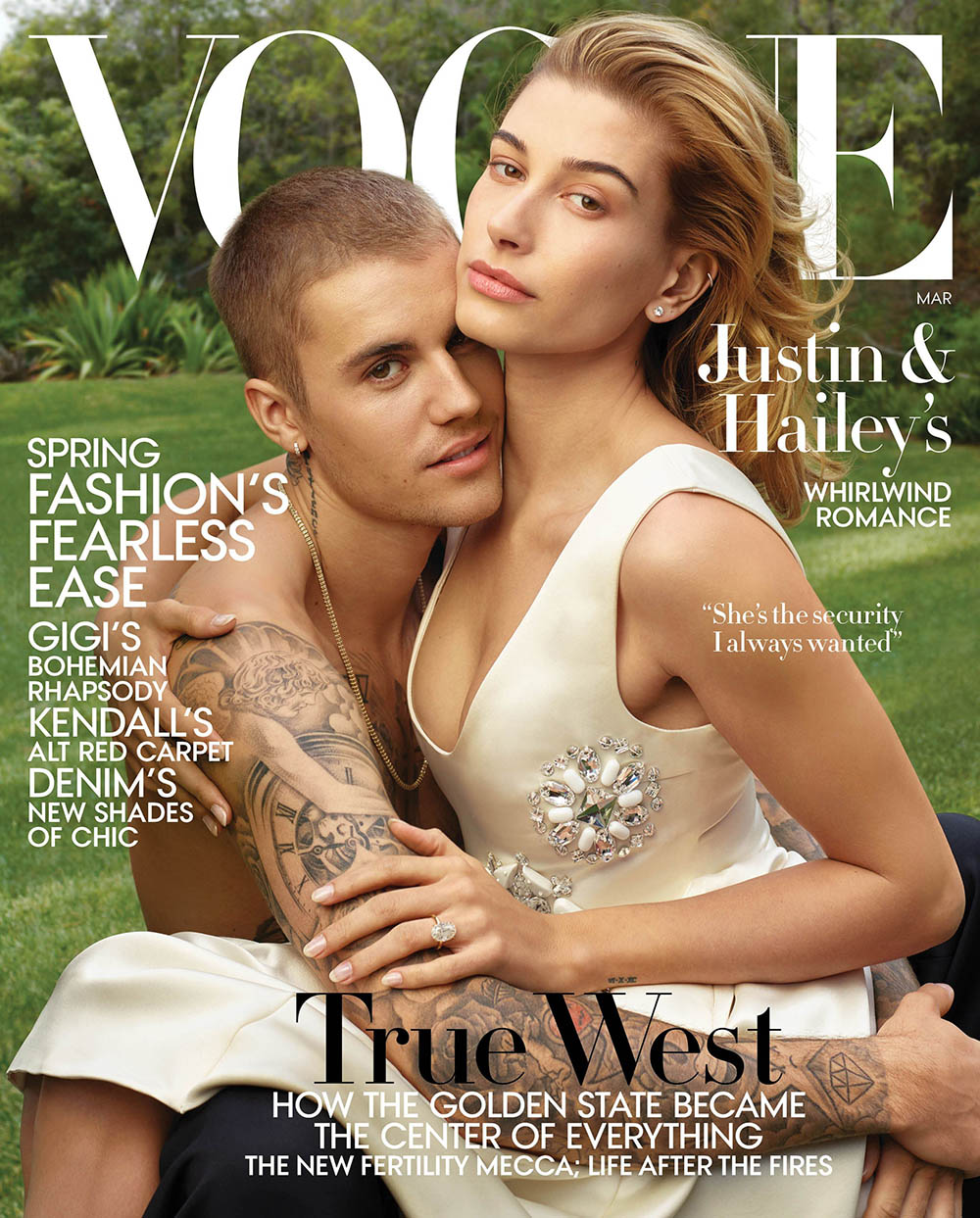 Justin and Hailey Bieber cover Vogue US March 2019 by Annie Leibovitz