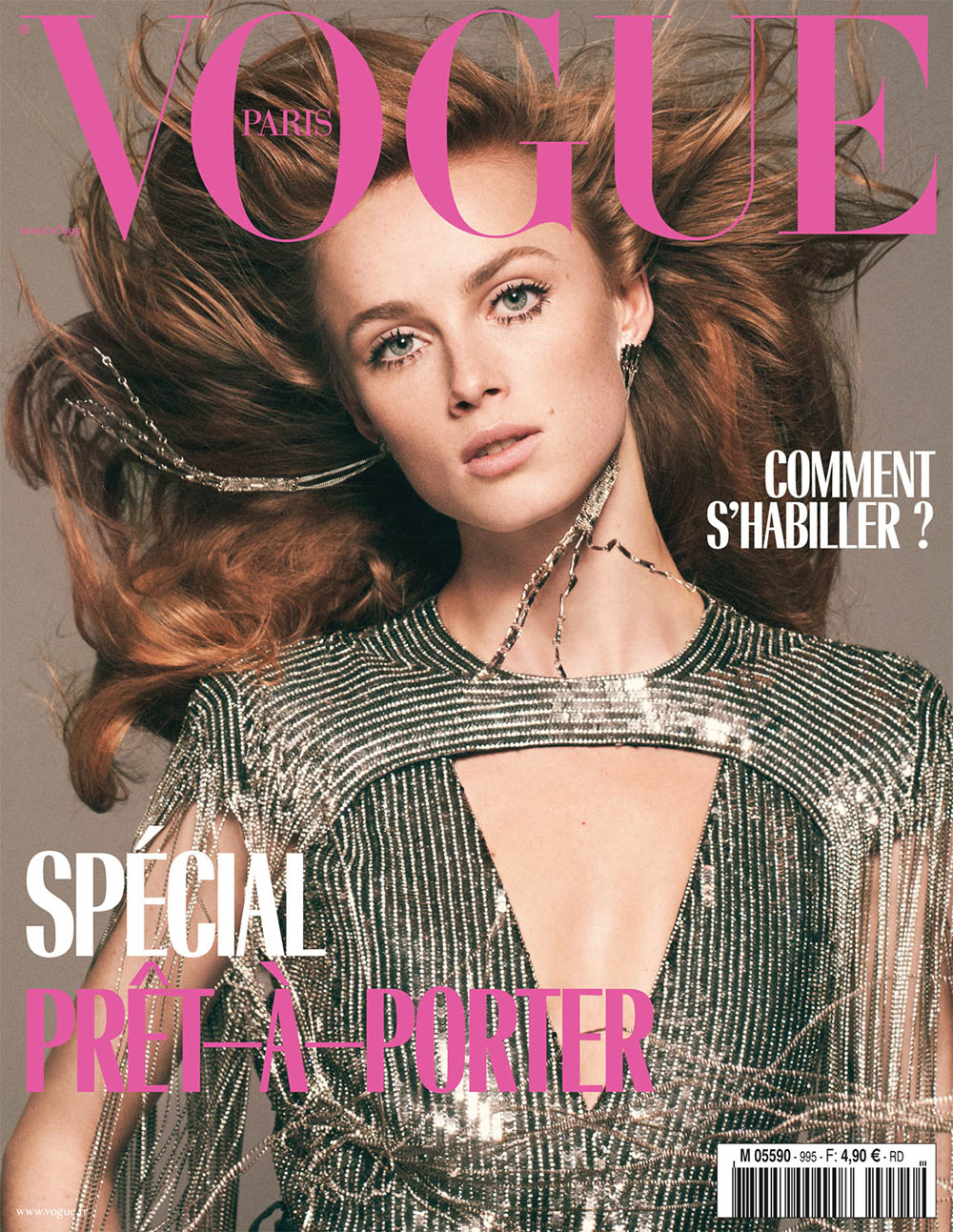 Rianne van Rompaey covers Vogue Paris March 2019 by David Sims