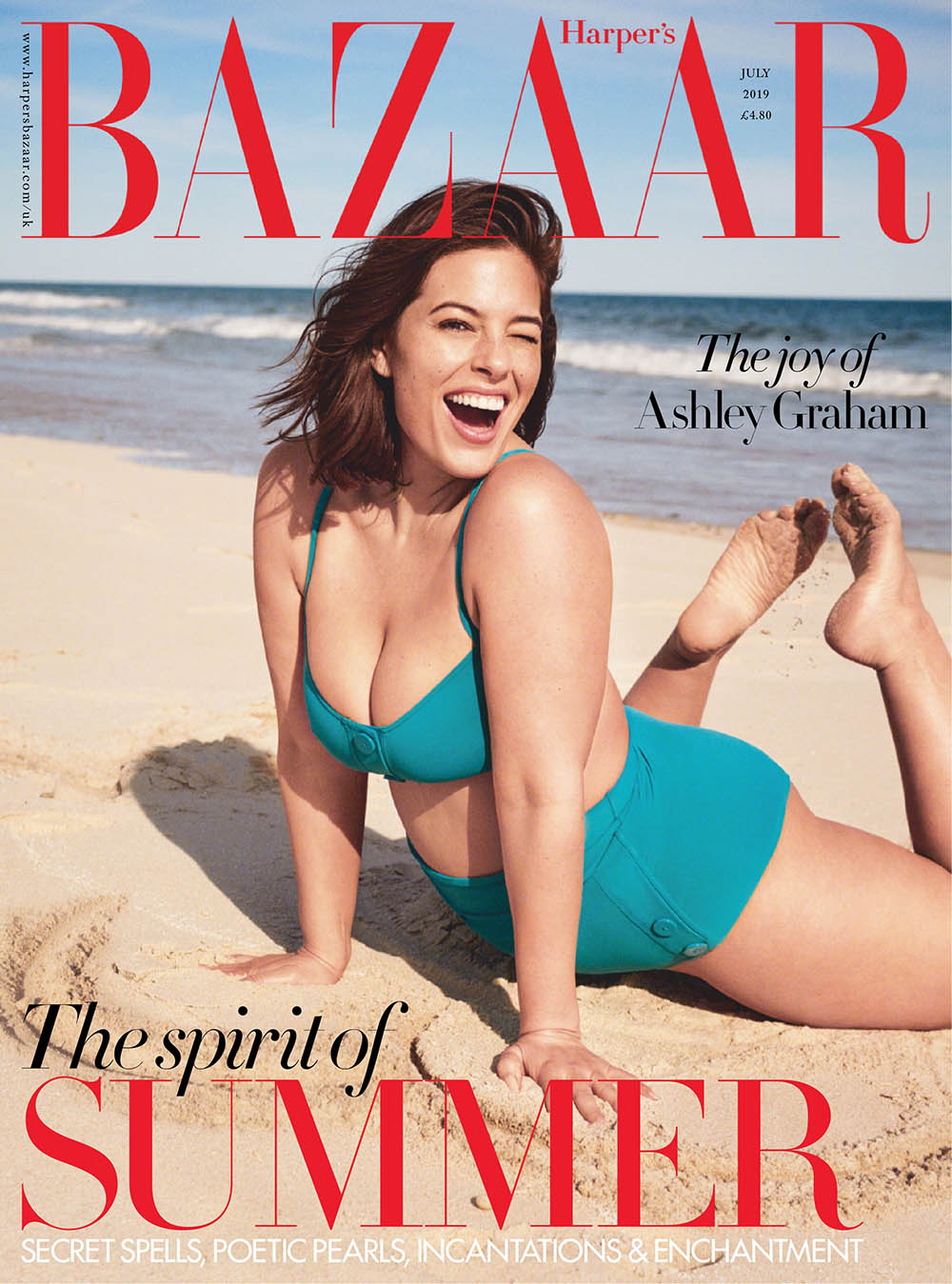 Ashley Graham covers Harper's Bazaar UK July 2019 by Pamela Hanson