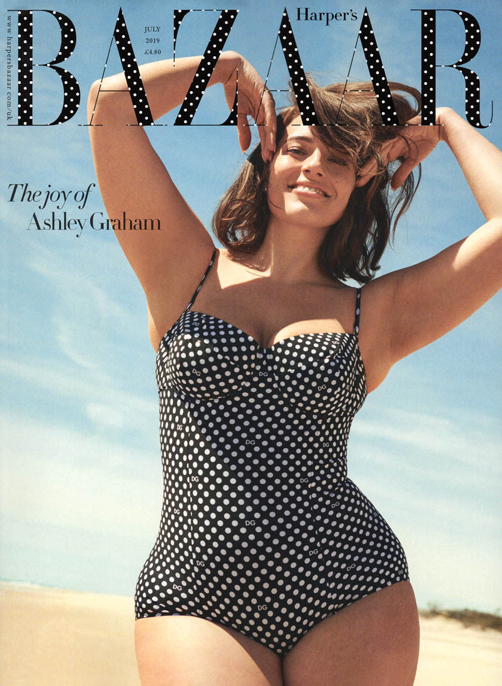 Ashley Graham covers Harper's Bazaar UK July 2019 by Pamela Hanson