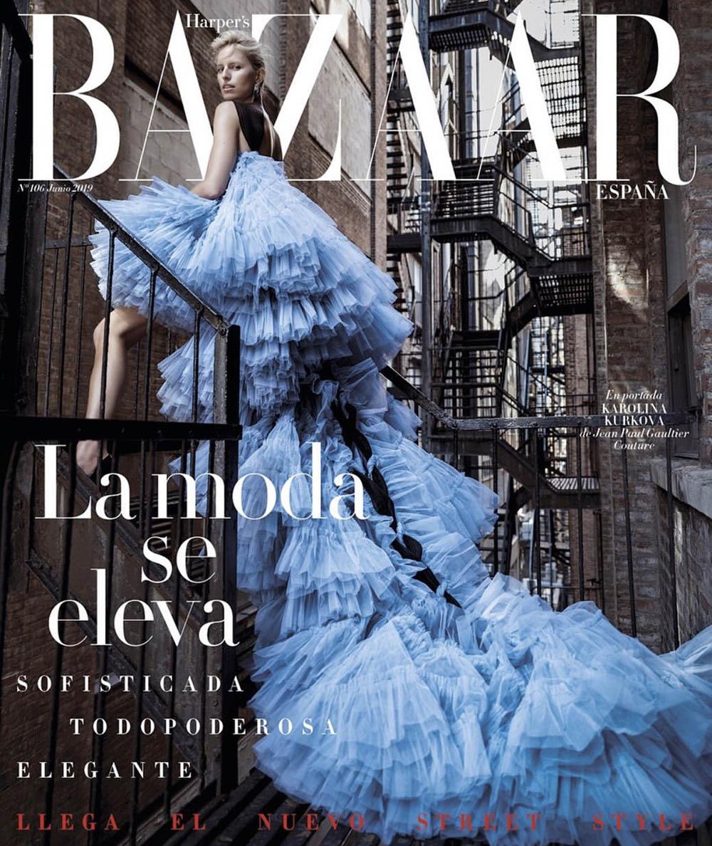 Karolina Kurkova covers Harper's Bazaar Spain June 2019 by Juankr