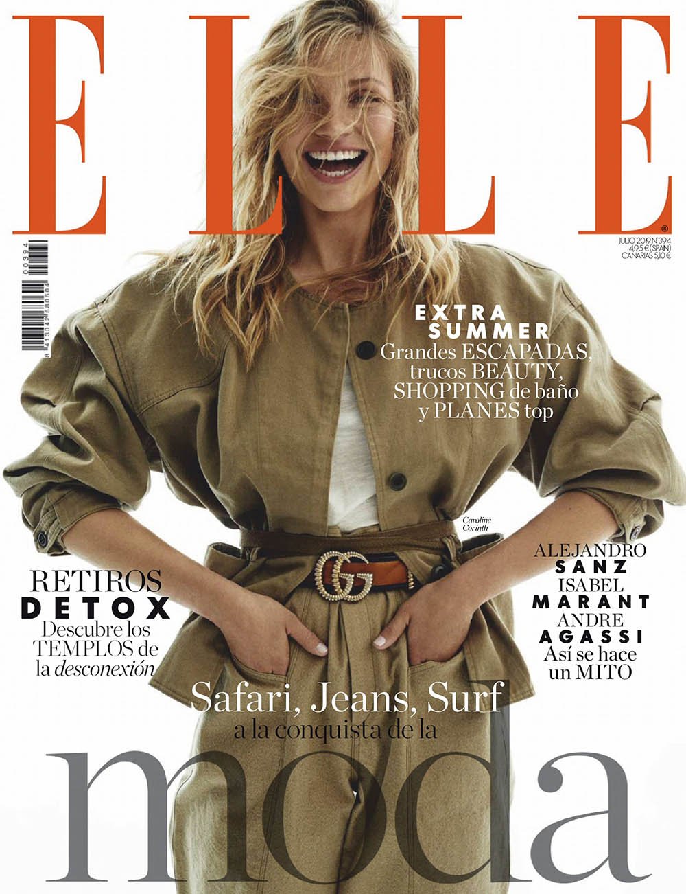 Caroline Corinth covers Elle Spain July 2019 by Xavi Gordo