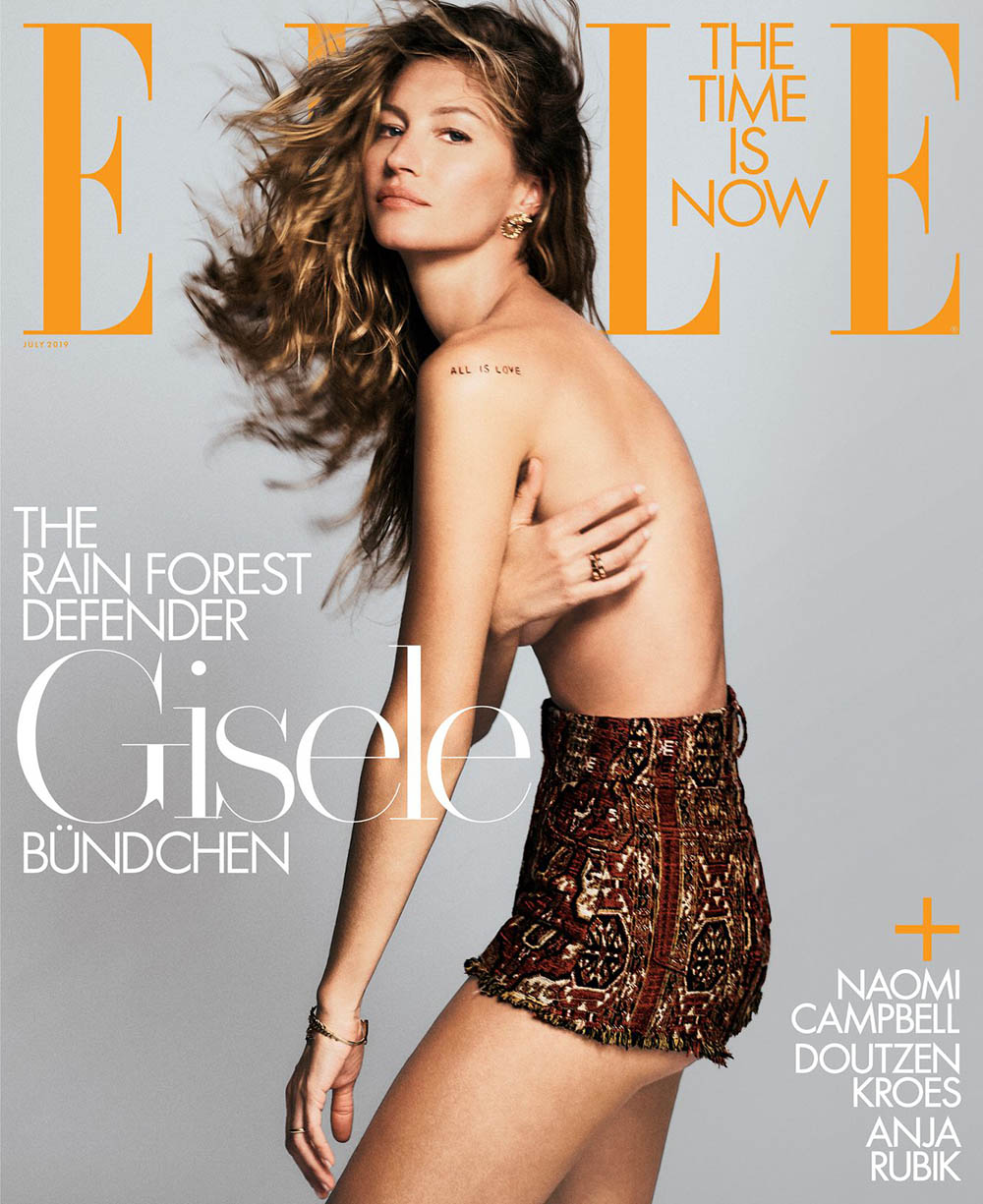 Gisele Bündchen, Naomi Campbell, Anja Rubik and Doutzen Kroes cover Elle US July 2019 by Chris Colls