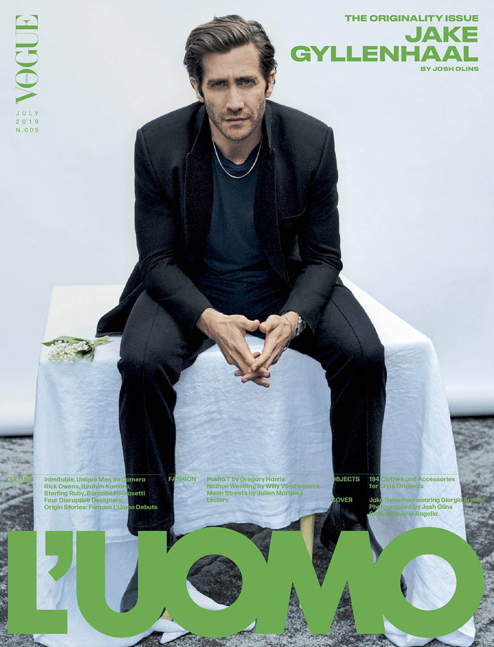 Jake Gyllenhaal covers L'Uomo Vogue July 2019 by Josh Olins