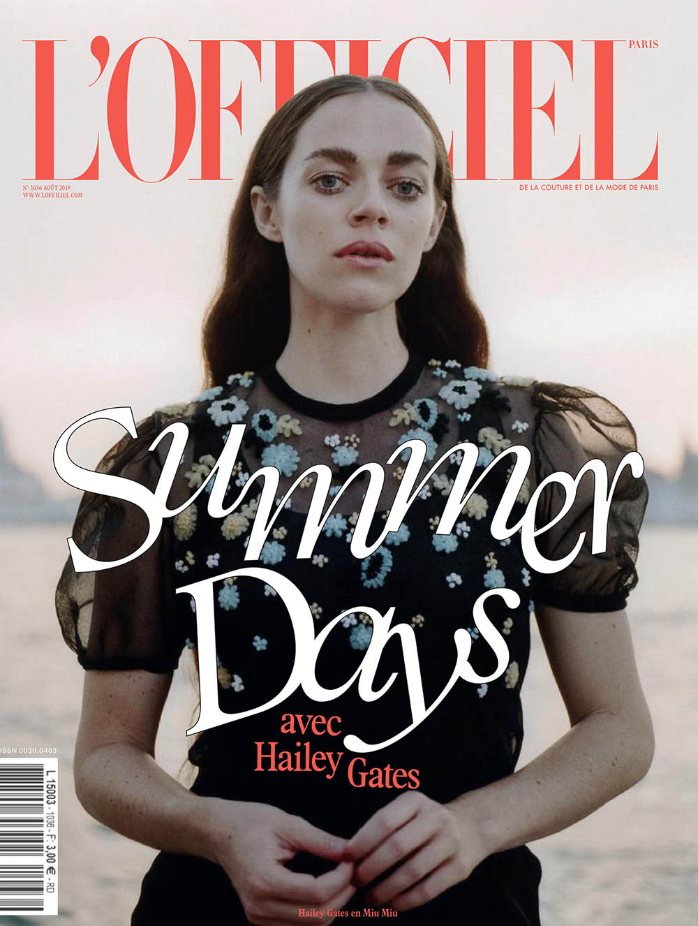 Hailey Gates covers L'Officiel Paris August 2019 by Daniyel Lowden