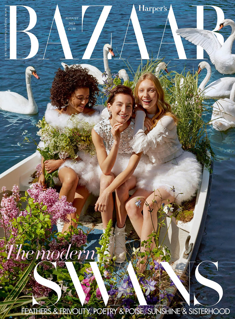Mélodie Vaxelaire, Heather Kemesky and Demy de Vries cover Harper's Bazaar UK August 2019 by Agata Pospieszynska