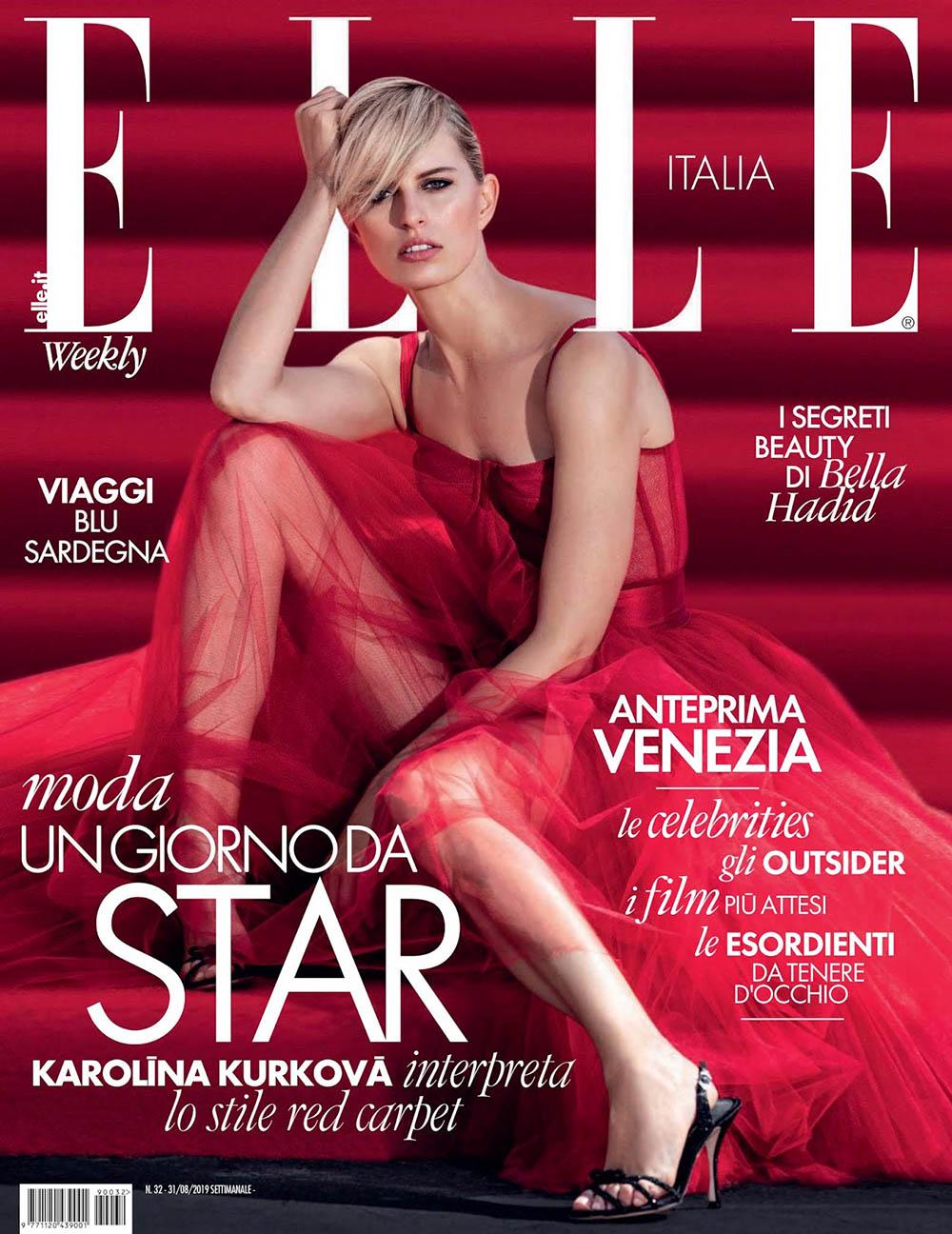 Karolina Kurkova covers Elle Italia August 19th, 2019 by Gilles Bensimon