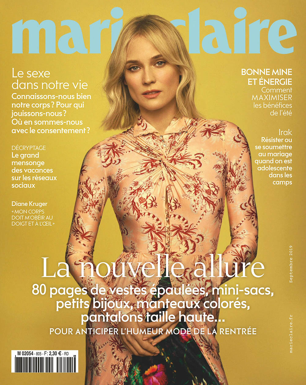 Diane Kruger covers Marie Claire France September 2019 by Thomas Whiteside