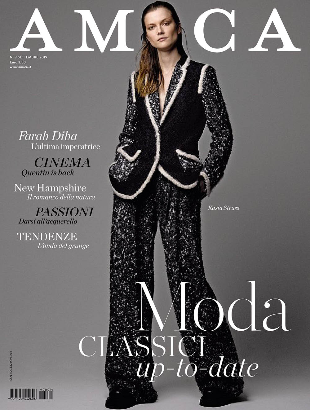 Kasia Struss covers Amica Magazine September 2019 by Philippe Cometti
