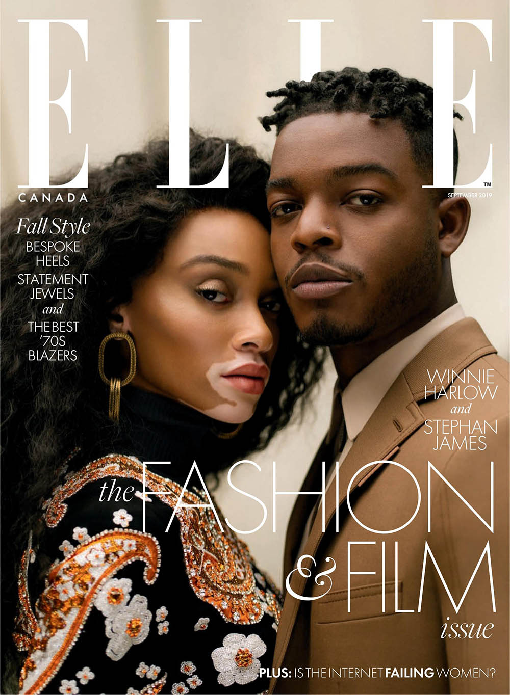 Winnie Harlow and Stephan James cover Elle Canada September 2019 by Norman Wong