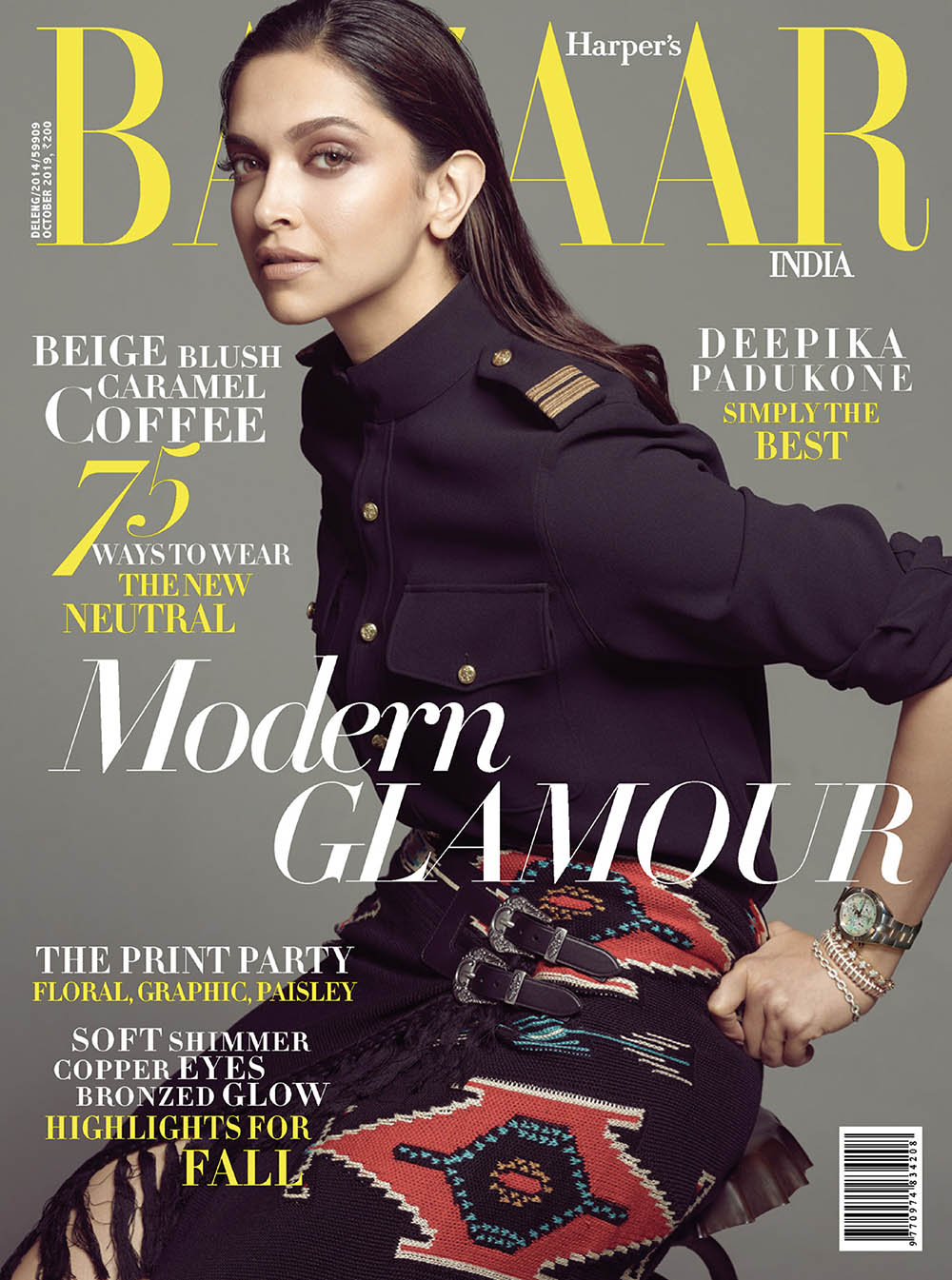 Deepika Padukone covers Harper's Bazaar India October 2019 by Tarun Vishwa