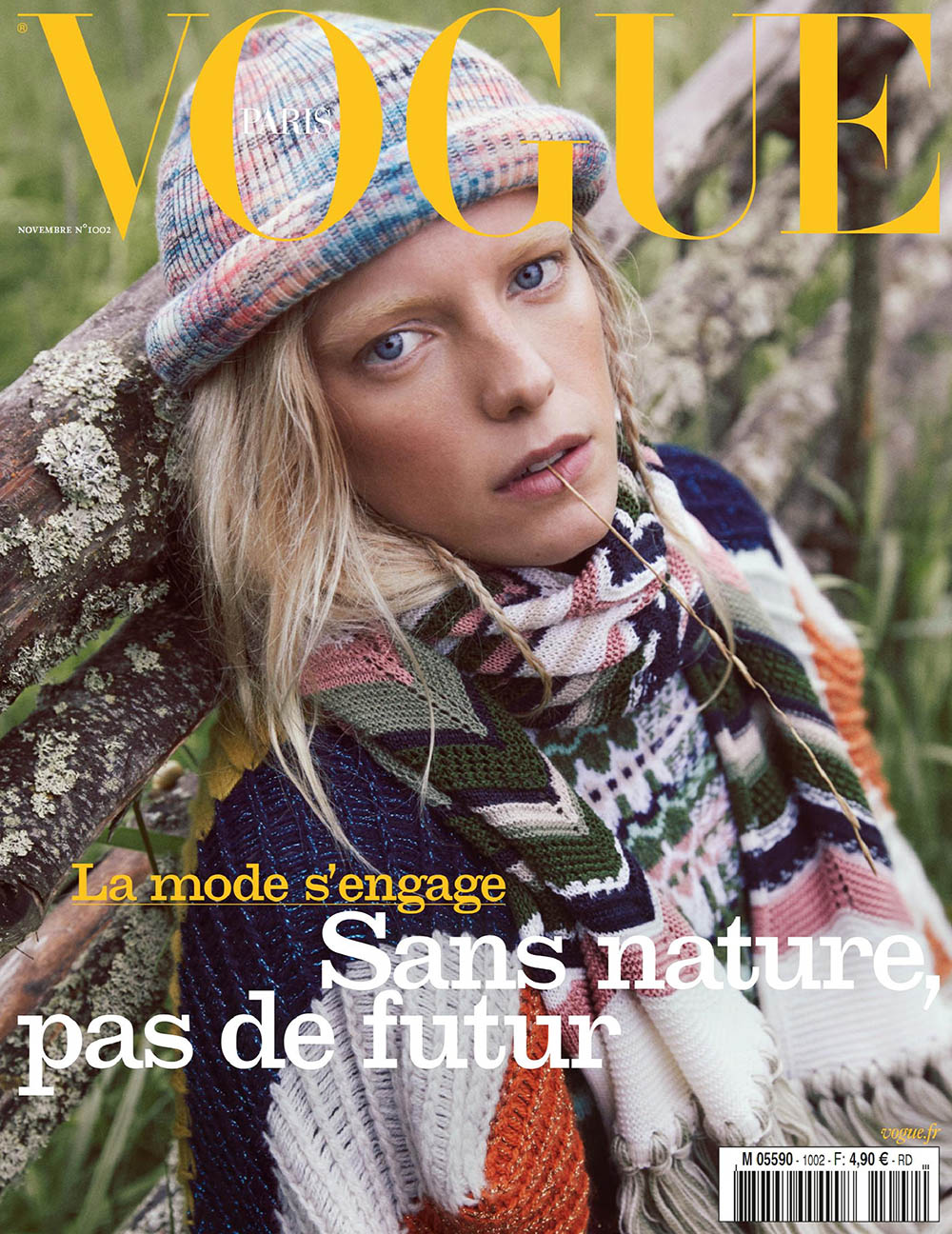 Erika Linder covers Vogue Paris November 2019 by Mikael Jansson