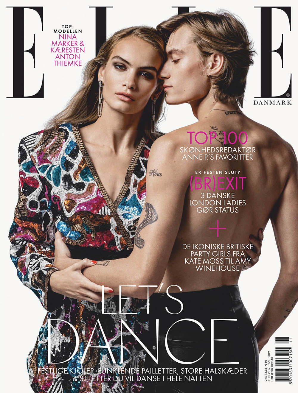 Nina Marker and Anton Thiemke cover Elle Denmark November 2019 by Marco van Rijt