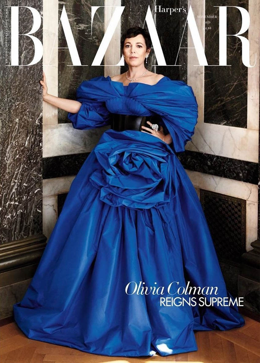 Olivia Colman covers Harper's Bazaar UK November 2019 by Alexi Lubomirski