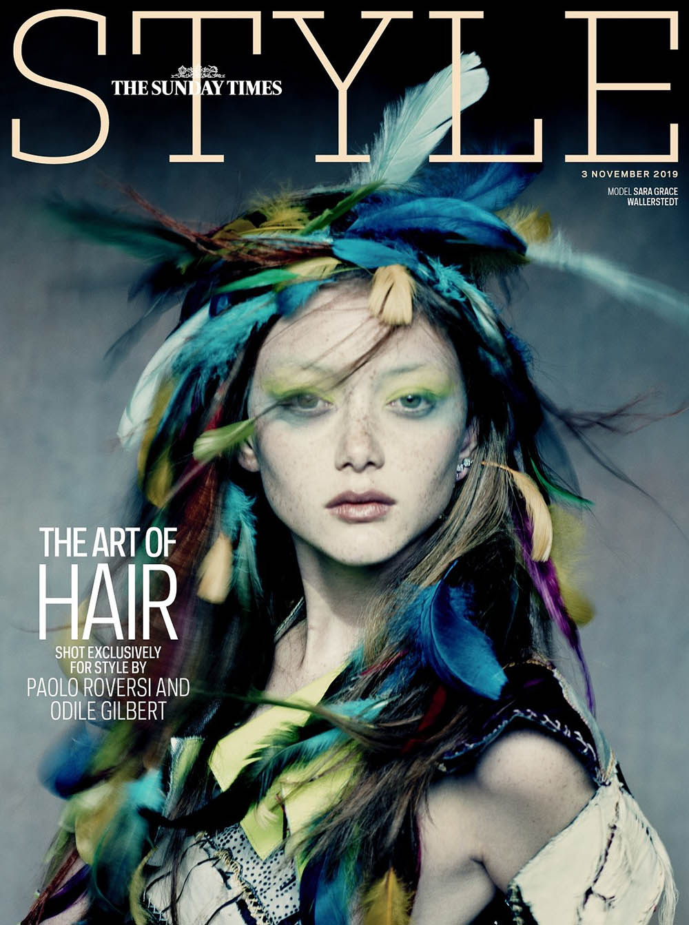 Sara Grace Wallerstedt covers The Sunday Times Style November 3rd, 2019 by Paolo Roversi