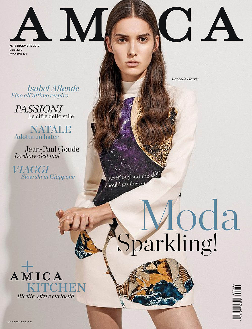 Rachelle Harris covers Amica Magazine December 2019 by Frederico Martins