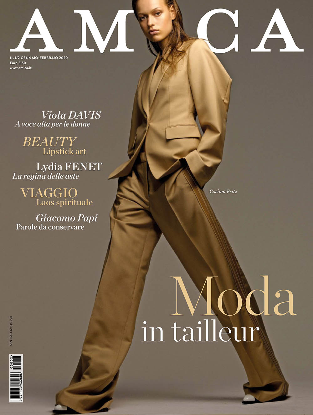 Cosima Fritz covers Amica Magazine January February 2020 by Philippe Cometti
