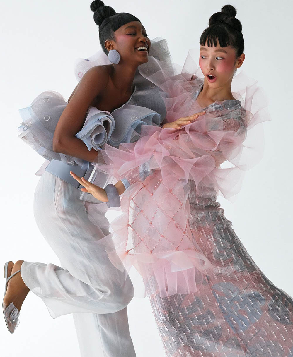 Eniola Abioro and Yuka Mannami by Daniel Clavero for Elle US January 2020