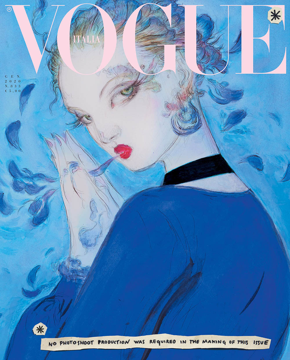 Illustrations for the first time on Vogue Italia January 2020 covers