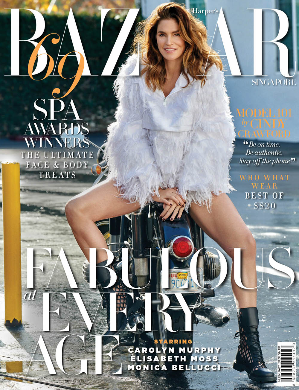 Cindy Crawford covers Harper's Bazaar Singapore February 2020 by Yu Tsai