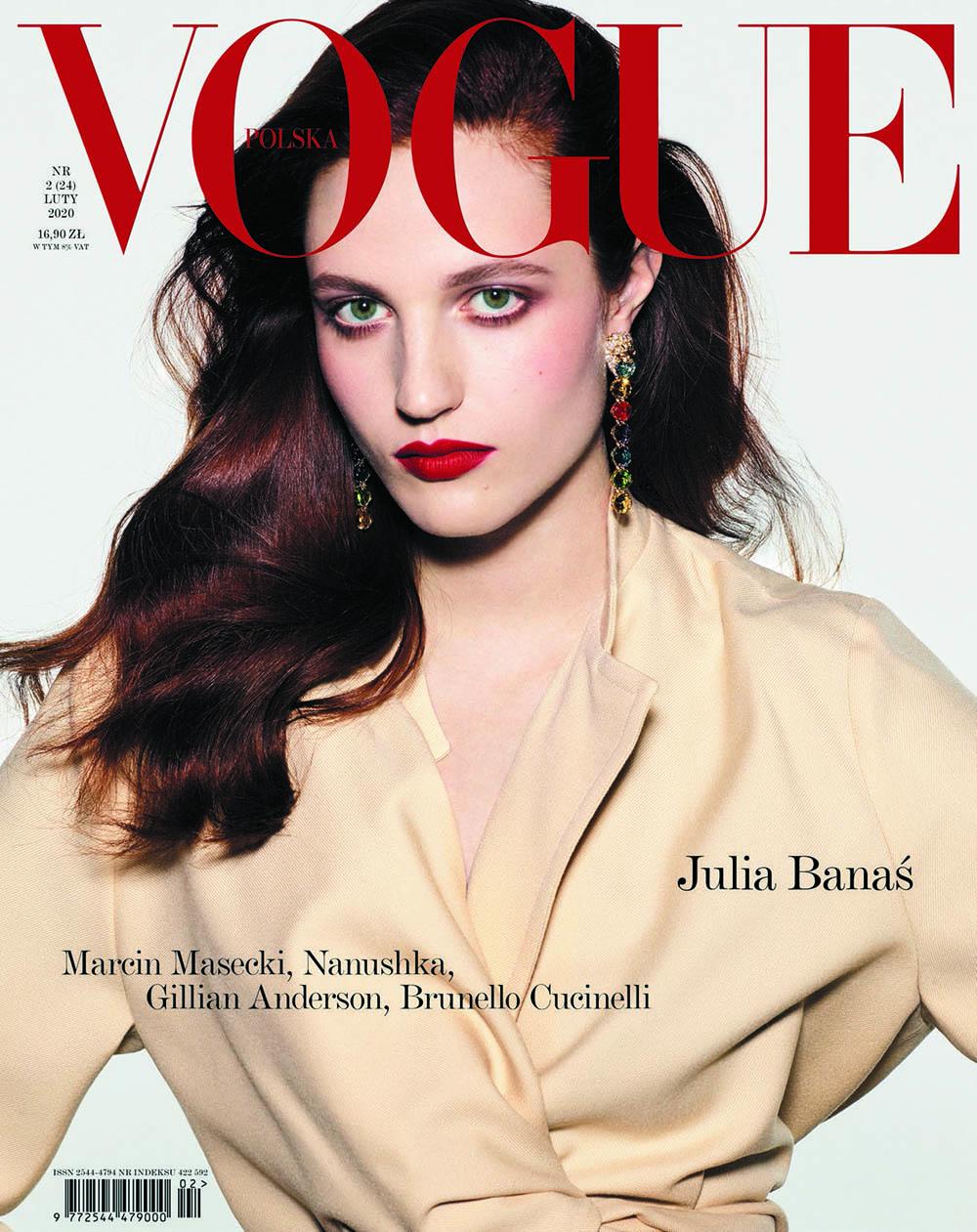Julia Banas covers Vogue Poland February 2020 by David Ferrua